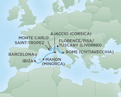 Just Regent Cruises Cruises RSSC Regent Seven Voyager Map Detail Monte Carlo, Monaco to Barcelona, Spain August 18-25 2018 - 7 Days