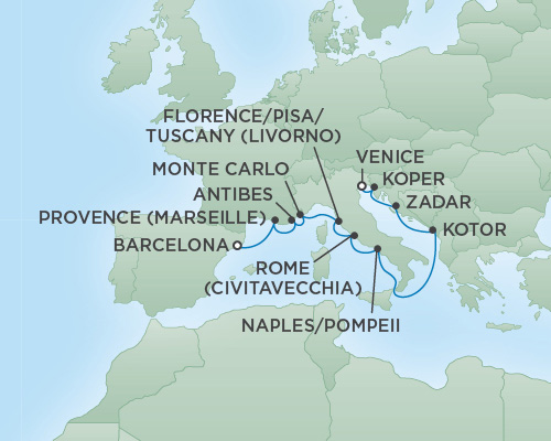 Regent/Radisson Luxury Cruises RSSC Regent Seven Voyager Map Detail Barcelona, Spain to Venice, Italy August 25 September 6 2022 - 12 Days