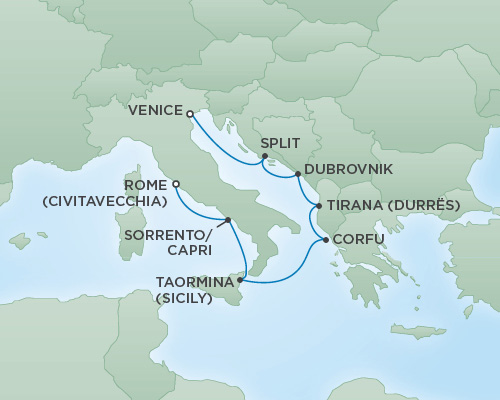 REGENT Cruises RSSC Regent Seven Voyager Map Detail Venice, Italy to Rome (Civitavecchia), Italy August 4-11 2018 - 7 Days