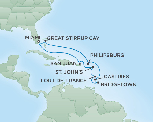 REGENT Cruises RSSC Regent Seven Voyager Map Detail Miami, Florida to Miami, Florida December 16-28 2018 - 12 Days