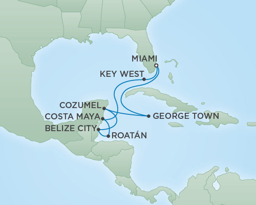 Just Regent Cruises Cruises RSSC Regent Seven Voyager Map Detail Miami, Florida to Miami, Florida December 28 2018 January 7 2019 - 10 Days