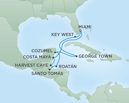 REGENT Cruises RSSC Regent Seven Voyager Map Detail Miami, Florida to Miami, Florida December 6-16 2018 - 10 Days