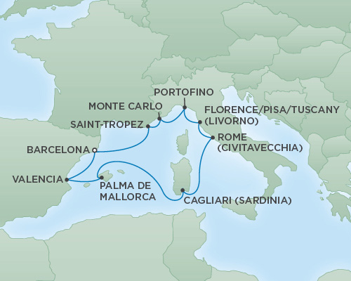 Cruises RSSC Regent Seven Voyager Map Detail Barcelona, Spain to Barcelona, Spain July 13-23 2018 - 10 Days
