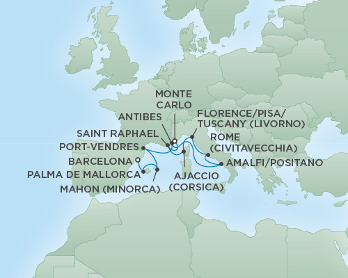 Just Regent Cruises Cruises RSSC Regent Seven Voyager Map Detail Monte Carlo, Monaco to Barcelona, Spain July 2-13 2018 - 11 Days