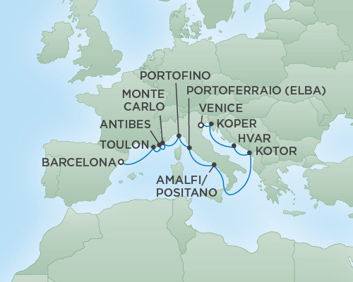REGENT Cruises RSSC Regent Seven Voyager Map Detail July 23 August 4 2018 - 12 Days