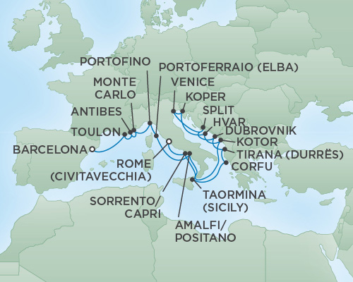 Just Regent Cruises Cruises RSSC Regent Seven Voyager Map Detail Barcelona, Spain to Rome (Civitavecchia), Italy July 23 August 11 2018 - 19 Days