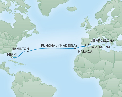 Just Regent Cruises Cruises RSSC Regent Seven Voyager Map Detail Barcelona, Spain to Miami, Florida November 12-26 2018 - 14 Days