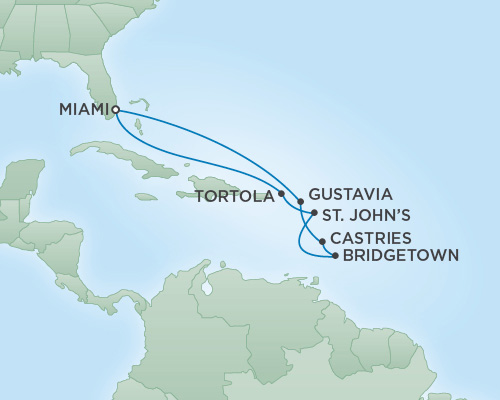 REGENT Cruises RSSC Regent Seven Voyager Map Detail Miami, Florida to Miami, Florida November 26 December 6 2018 - 10 Days