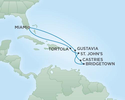 Regent/Radisson Luxury Cruises RSSC Regent Seven Voyager Map Detail Miami, Florida to Miami, Florida November 26 December 6 2018 - 10 Days