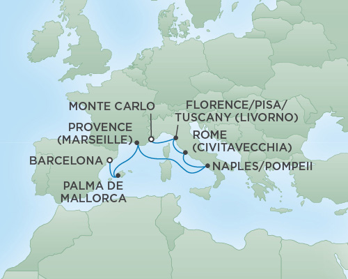 Just Regent Seven Seas Cruises Cruises RSSC Regent Seven Voyager Map Detail Monte Carlo, Monaco to Barcelona, Spain November 5-12 2020 - 7 Days