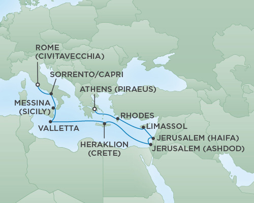 Cruises RSSC Regent Seven Voyager Map Detail Athens (Piraeus), Greece to Rome (Civitavecchia), Italy October 17-29 2018 - 12 Days