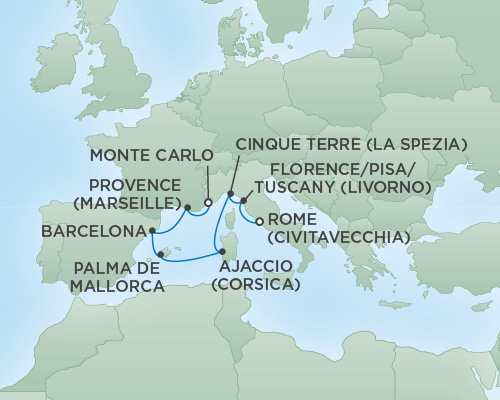 REGENT Cruises RSSC Regent Seven Voyager Map Detail Rome (Civitavecchia), Italy to Monte Carlo, Monaco October 29 November 5 2018 - 7 Days