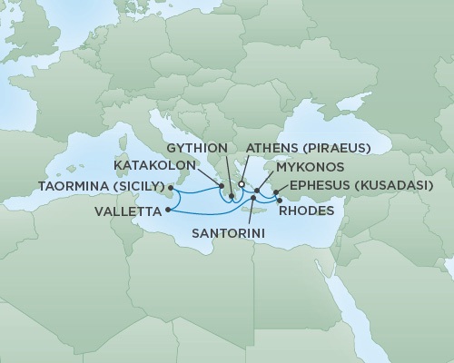 Just Regent Seven Seas Cruises Cruises RSSC Regent Seven Voyager Map Detail Athens (Piraeus), Greece to Athens (Piraeus), Greece October 7-17 2020 - 10 Days