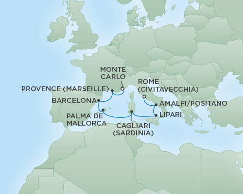 Cruises RSSC Regent Seven Voyager Map Detail Rome (Civitavecchia), Italy to Monte Carlo, Monaco September 13-20 2018 - 7 Days