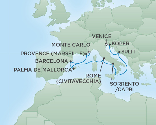 Cruises RSSC Regent Seven Voyager Map Detail Monte Carlo, Monaco to Venice, Italy September 20-30 2018 - 10 Days