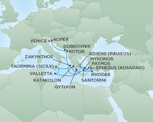 REGENT Cruises RSSC Regent Seven Voyager Map Detail Venice, Italy to Athens (Piraeus), Greece September 30 October 17 2018 - 17 Days