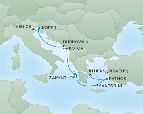 Cruises RSSC Regent Seven Voyager Map Detail Venice, Italy to Athens (Piraeus), Greece September 30 October 7 2018 - 7 Days