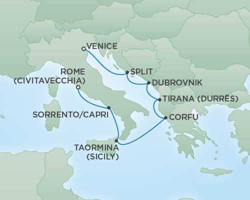 Regent/Radisson Luxury Cruises RSSC Regent Seven Voyager Map Detail Venice, Italy to Rome (Civitavecchia), Italy September 6-13 2018 - 7 Days