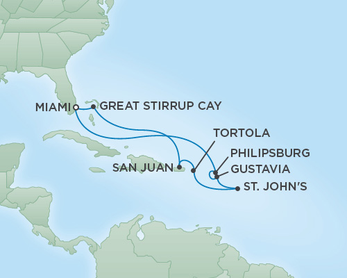 Just Regent Cruises Cruises RSSC Regent Seven Voyager Map Detail Miami, Florida to Miami, Florida February 13-23 2019 - 10 Days
