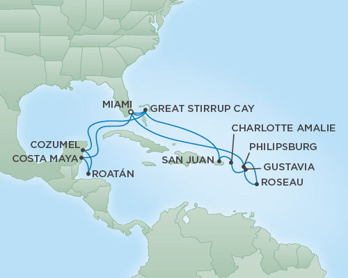 Just Regent Seven Seas Cruises Cruises RSSC Regent Seven Voyager Map Detail Miami, Florida to Miami, Florida February 23 March 12 2019 - 17 Days