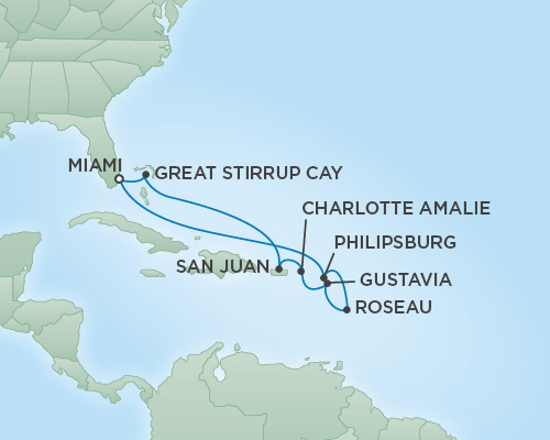 Regent/Radisson Luxury Cruises RSSC Regent Seven Voyager Map Detail Miami, Florida to Miami, Florida February 23 March 5 2019 - 10 Days