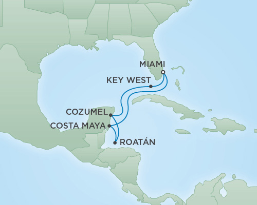 Just Regent Seven Seas Cruises Cruises RSSC Regent Seven Voyager Map Detail Miami, Florida to Miami, Florida February 6-13 2019 - 7 Days
