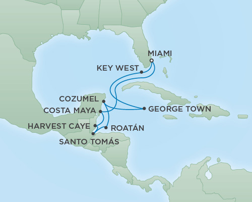 Just Regent Cruises Cruises RSSC Regent Seven Voyager Map Detail Miami, Florida to Miami, Florida January 17-27 2019 - 10 Days