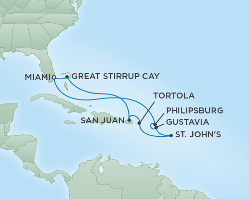 Cruises RSSC Regent Seven Voyager Map Detail Miami, Florida to Miami, Florida January 27 February 6 2019 - 10 Days