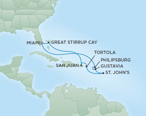 Just Regent Cruises Cruises RSSC Regent Seven Voyager Map Detail Miami, Florida to Miami, Florida January 7-17 2019 - 10 Days