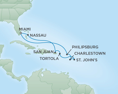 Just Regent Seven Seas Cruises Cruises RSSC Regent Seven Voyager Map Detail Miami, Florida to Miami, Florida March 12-22 2019 - 10 Days