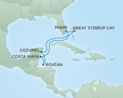 Just Regent Cruises Cruises RSSC Regent Seven Voyager Map Detail Miami, Florida to Miami, Florida March 5-12 2019 - 7 Days