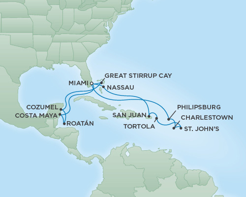 Cruises RSSC Regent Seven Voyager Map Detail Miami, Florida to Miami, Florida March 5-22 2019 - 17 Days