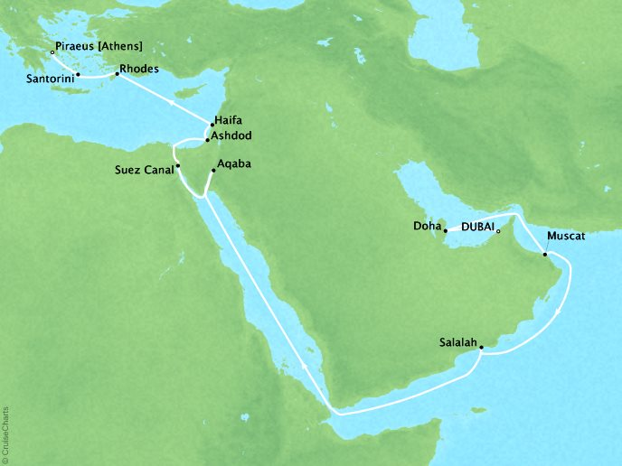 DEALS - SEABOURN Encore Cruises Map Detail Dubai, United Arab Emirates to Piraeus (Athens), Greece April 17 May 6 2027 - 19 Days - Voyage 7727
