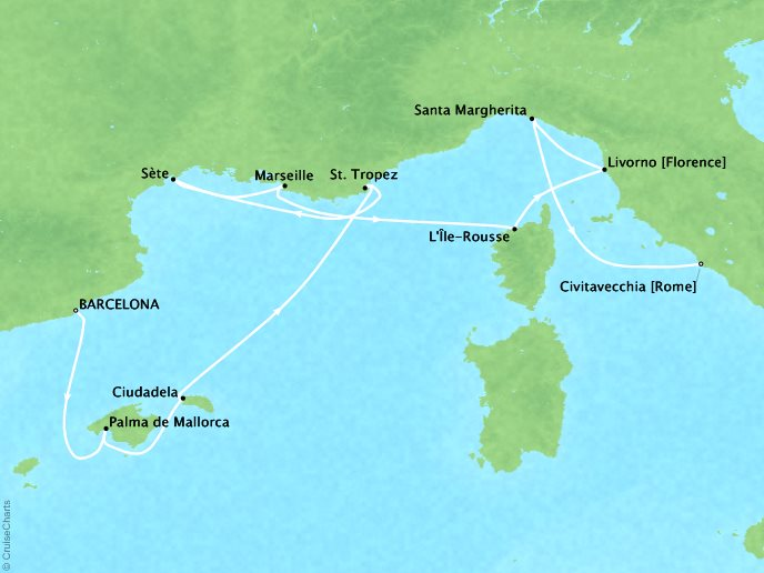 Cruises Seabourn Encore Map Detail Barcelona, Spain to Civitavecchia, Italy August 15-25 2017 - 10 Days