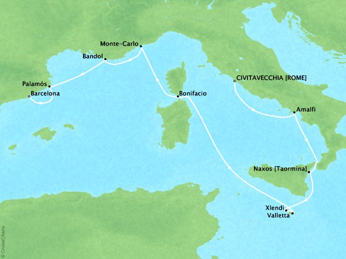 Cruises Seabourn Encore Map Detail Civitavecchia (Rome), Italy to Barcelona, Spain August 25 September 4 2017 - 10 Days