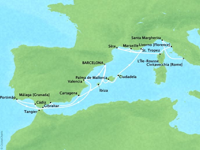 Cruises Seabourn Encore Map Detail Barcelona, Spain to Civitavecchia, Italy August 5-25 2017 - 20 Days