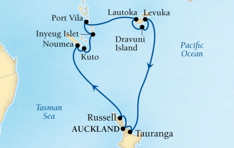 Cruises Seabourn Encore Map Detail Auckland, New Zealand to Auckland, New Zealand December 20 2017 January 5 2018 - 16 Days