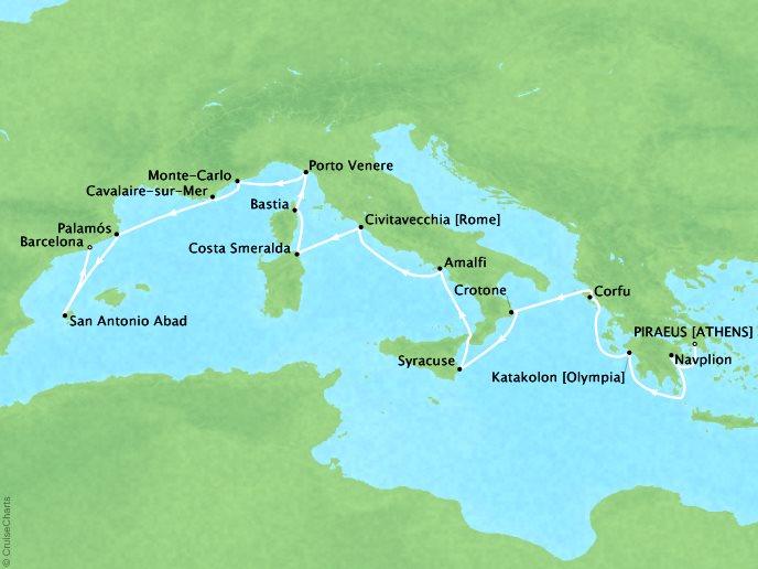 Cruises Seabourn Encore Map Detail Piraeus, Greece to Barcelona, Spain July 1-16 2017 - 15 Days - Voyage 7742A