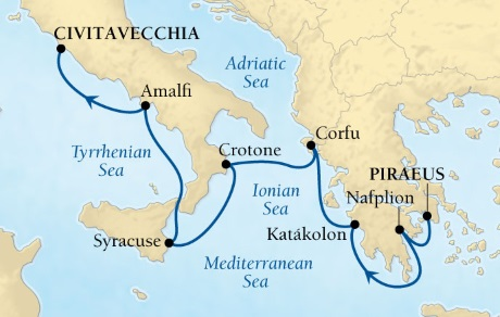 Cruises Seabourn Encore Map Detail Piraeus (Athens), Greece to Rome (Civitavecchia), Italy July 1-8 2017 - 7 Days