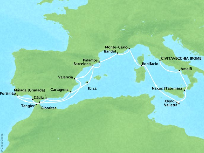 Cruises Seabourn Encore Map Detail Civitavecchia, Italy to Barcelona, Spain July 26 August 15 2017 - 21 Days
