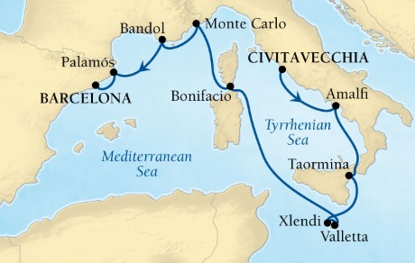 Cruises Seabourn Encore Map Detail Civitavecchia, Italy to Barcelona, Spain July 26 August 5 2017 - 11 Days