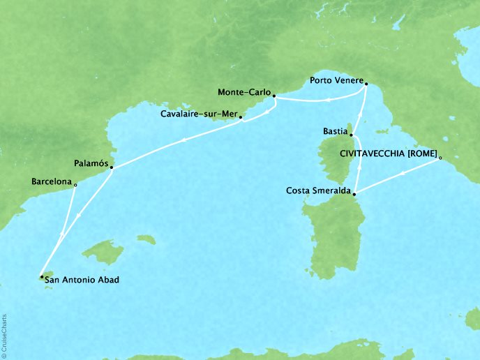 Cruises Seabourn Encore Map Detail Civitavecchia, Italy to Barcelona, Spain Juy 8-16 2017 - 8 Days