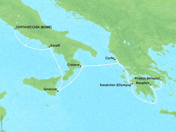 Cruises Seabourn Encore Map Detail Civitavecchia, Italy to Piraeus (Athens), Greece June 10-17 2017 - 7 Days