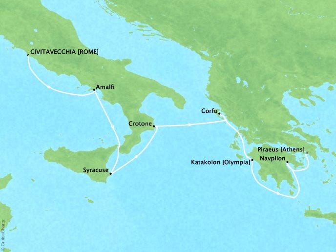 Cruises Seabourn Encore Map Detail Civitavecchia, Italy to Piraeus (Athens), Greece June 10-17 2017 - 7 Days