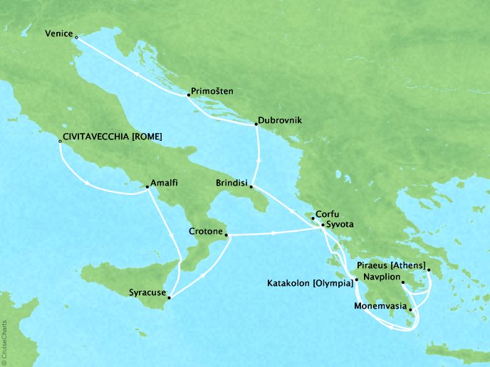 DEALS - SEABOURN Encore Cruises Map Detail Civitavecchia (Rome), Italy to Venice, Italy June 10-24 2017 - 14 Days