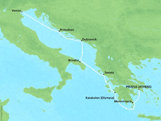 Cruises Seabourn Encore Map Detail Piraeus (Athens), Greece to Venice, Italy June 17-24 2017 - 7 Days