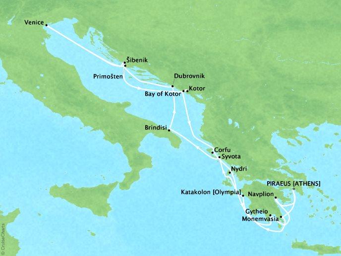 DEALS - SEABOURN Encore Cruises Map Detail Piraeus (Athens), Greece to Piraeus (Athens), Greece June 17 July 1 2017 - 14 Days