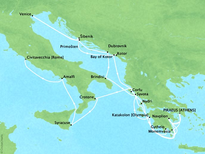 DEALS - SEABOURN Encore Cruises Map Detail Piraeus (Athens), Greece to Civitavecchia, Italy June 17 July 8 2027 - 22 Days