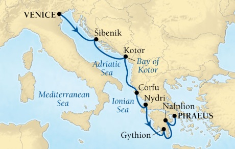 DEALS - SEABOURN Encore Cruises Map Detail Civitavecchia (Rome), Italy to Piraeus (Athens), Greece June 24 July 1 2017 - 7 Days