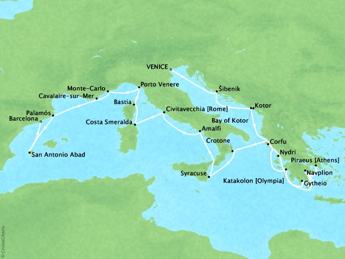Cruises Seabourn Encore Map Detail Venice, Italy to Barcelona, Spain June 24 July 16 2017 - 22 Days